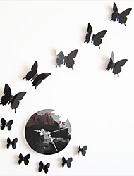 Modern/Contemporary Mirror Acrylic PVC Round Butterfly Wall Clock