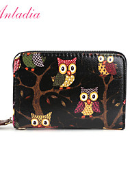 Anladia Women Wallet Owl Print Oilcloth Pouch Bag Handbag Coin Card Holde Purse 3 Colors