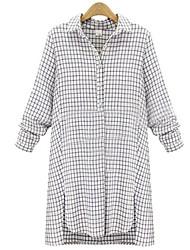 Women's Casual Cute Plus Sizes Inelastic Long Sleeve Long Shirt (Cotton)