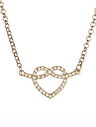 Women's Gold Color Alloy Heart Necklace With Clear Rhinestone
