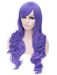 European And American Fashion Purple Inclined Bang Curly Hair Wig