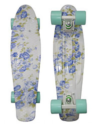 Blue Floral Plastic Skateboard 22 inch Mini Cruiser with Abec-9 Bearings