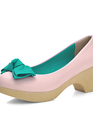Women's Shoes  Kitten Heel Heels/Round Toe Loafers Outdoor/Office & Career/Casual Green/Pink/Purple/Beige