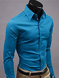 Jazz,Men's Vintage/Casual/Party/Work Pure color Long Sleeve Casual Shirts (Cotton/Rayon)