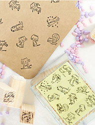 DIY 12pcs set Mini CAT STAMP Cartoon Cat Wooden Stamp Set