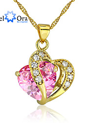 Fashion Heart Jewelry 24K Gold Plated CZ Pendant Necklace for Women With Chain
