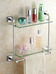 Elegant Brass Double-Deck Glass Bathroom Shelves With Towel Bar