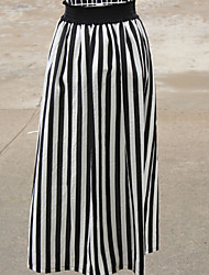 Women's Casual High Waist Stripe Long Skirts