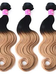 "3 Pcs/Lot 12""-26"" 100% Brazilian Unprocessed Virgin Human Hair #1B-27 Color Ombre Body Wave Hair Weft"