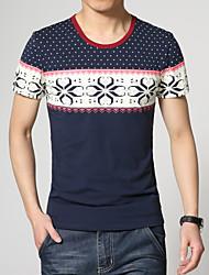 Herren Freizeit/Übergröße T-Shirt  -  Druck Kurz Baumwolle/Polyester