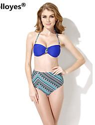 Colloyes Women Royal Blue+ Ethnic Bandeau Top High Waist Bottom Bikinis Swimwear
