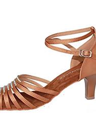 Women's Dance Shoes Latin Satin Chunky Heel Black/Other