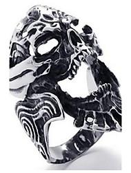Gothic Casted Skull Stainless Steel Biker Mens Ring, Silver Black