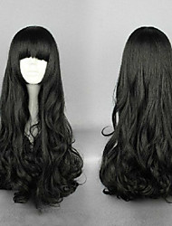 Classical Cosplay Wig Bangs& Oblique Bangs 2 Styles Black Long Synthetic Animated Wigs Woman's Cartoon Wigs Party Wigs