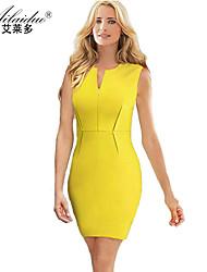 women's V-neck Sleeveless pure colour sllim pencil skirt(Polyester)