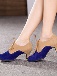 Non Customizable Women's Dance Shoes Modern Suede Cuban Heel Blue