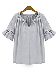 Xia.me Women's European Solid Color Loose Round Collar Large Yard Top
