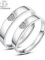 Poetry Dreams Sterling Silver 3-stone Heart Adjustable Rings Couple Rings Set