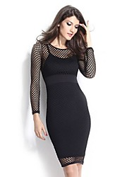 Women's Club Bodycon Dress,Solid Round Neck Knee-length Long Sleeve White / Black Polyester / Spandex All Seasons