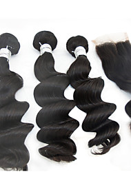 3Pcs /Lot 10''-28'' 5A #1B Indian Hair Virgin Remy Hair Unprocessed Hair Extensions Natural Loose Wave Raw Wave
