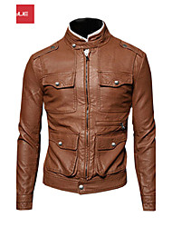 MANWAN WALK®Men's Multi Buttons Design Casual Slim Leather Coat.