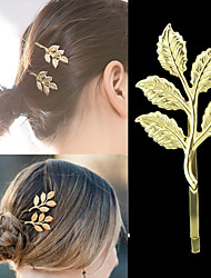 Gold Plated Leaf Shape Women Hair Pin