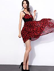 Women's  Sexy  Leopard Print  Irregular  Dress