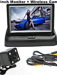 RenEPai® 4.3 Inch Folding Display Monitor + Wireless 170°HD Car Rear View Camera +  Wide Angle Waterproof Camera