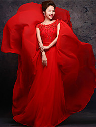 Dress Sheath/Column Scoop Floor-length Chiffon Dress