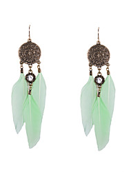 Drop Earrings Rhinestone Feather Simulated Diamond Feather White Green Jewelry Wedding Party Daily Casual Sports 2pcs