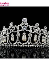 Neoglory Jewelry Drop Imitation Pearl and Clear Austrian Rhinestone Bridal Wedding Tiara Crown Accessories