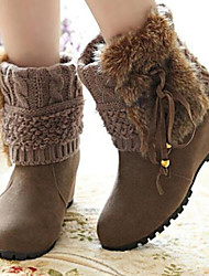 Женская обувь - Ботинки ( Искусственный мех , Черный / Желтый / Хаки ) Туфли на танкетке - 6-9 см