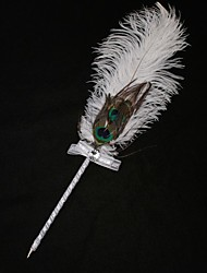 Elegant White Peacock Feather Pen Quill with Lovely Ribbon for Wedding  Signature Sign In Book