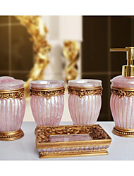 The Roman Homes Pattern Bathroom Ware 5 Sets/Pink
