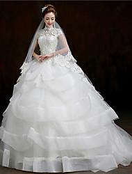 Ball Gown Court Train Wedding Dress -High Neck Organza