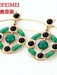 European and American fashion jewelry earrings earrings simple green disc