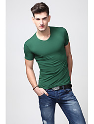 U&Shark Men's Fine Cotton V-Neck Short Sleeve T- Shirt with Dark Green/TX1004