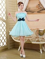 Dress - Sky Blue A-line Strapless Short/Mini Satin Chiffon
