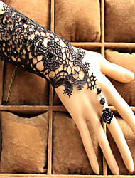 European and American Fashion Bride Wedding Accessories Black Lace Flower Beaded Bracelet Ring Set