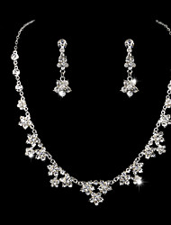 Ladies' Five Flower Rhinestone Wedding Jewelry Set