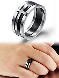 Anéis Casamento / Pesta / Diário / Casual / Esportes Jóias Aço Titânio Anéis Grossos 1pç,7 / 8 / 9 / 10 Preto e Branco