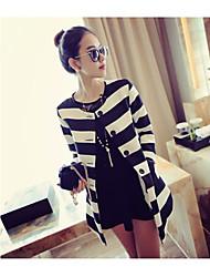 MANGO BABY WOMEN'S Casual Contrast Color Stripe Long Sleeve Blazer