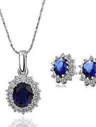 Arinna Fashion Jewelry Set Women 18k white Gold Plated Blue Rhinestone Necklace & Earrings Gift Set G1370#2