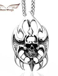 ailes de lune feu millésime Punk Skull pendentif en acier inoxydable avec un collier