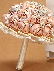 Bridal Hand Holding Champagne Wedding Flowers Round Bouquets