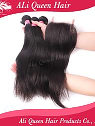 Ali Queen Hair Products 3Pcs 6A Brazilian Virgin Hair Straight Wifh 1Pcs 4*4 Swiss Lace Closures 100% human hair