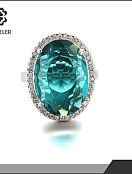 Statement Rings Zircon Cubic Zirconia Platinum Plated Fashion Yellow Green Blue Pink Light Brown Jewelry Wedding Party 1pc