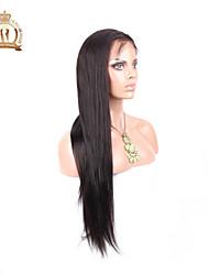 """10 """"-26"""" sans colle pleine perruque de dentelle couleur de cheveux vierge péruvienne droite N ° 2 sombre cheveux de bébé brun pour les"""