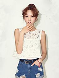 Women's Lace Double Layer Sleeveless Short Vest Shirts