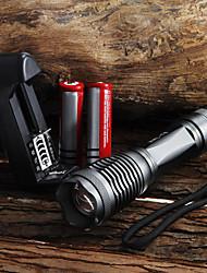 Светодиодные фонари / Ручные фонарики LED 5 Режим 2000 Люмен Фокусировка / Водонепроницаемый Cree XM-L T6 18650 / AAA